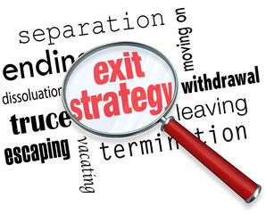 Exit Strategy Magnifying Glass Way Out Contract Partnership Marr