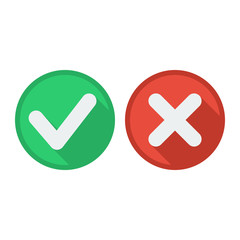 Delete and tick or check and cross marks