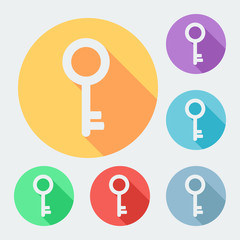 Flat style key icon with long shadow, six colors.