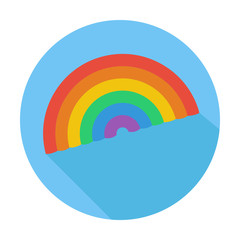 Single flat lgbt rainbow icon, icon with long shadow.