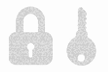 Internet security concept made with binary code drawing a padloc