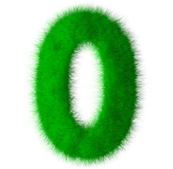 Green grass font number 0,eco font isolated on white background