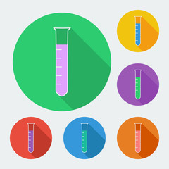 Test-tube icon with long shadow - vector illustration.