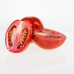 Red ripe paste tomatoes isolated