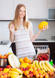 blonde long-haired woman with melon