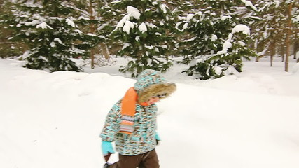 Little boy is  walking in the park. Winter