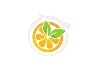 Orange juice logo vector fruits