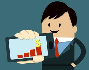 Business Man Show Smart Phone ,graph