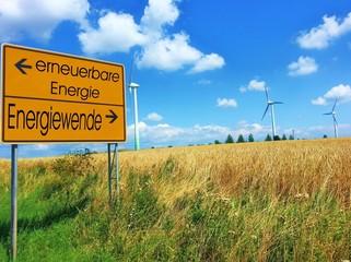 erneuerbare Energie und Energiewende - Straßenschild