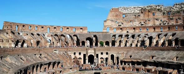 Colosseum was built in the first century in Rome city.