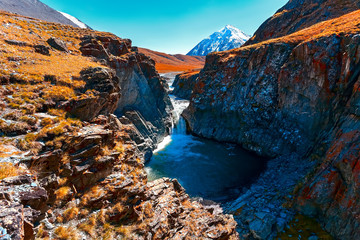 Falls, glacier, mountains