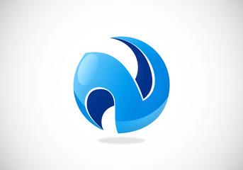 3D business communication letter N logo