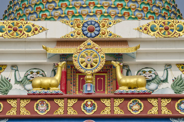 buddhist symbols art on temple in Lumbini, Nepal
