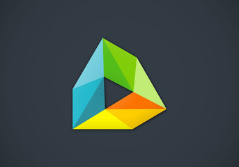 abstract triangle geometry media vector logo