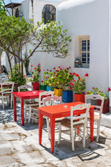 Typical tavern terrace in Mykonos