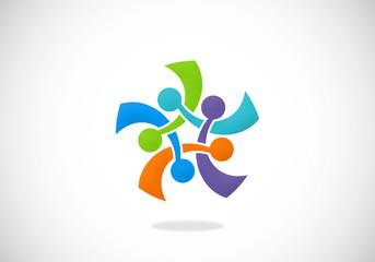 circle connection group abstract vector logo