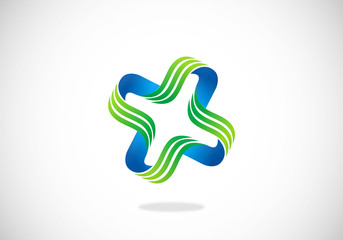 circle ribbon swirl abstract vector logo