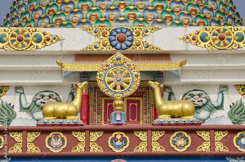 Papiers peints Népal buddhist symbols art on temple in Lumbini, Nepal