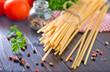 raw pasta with tomato