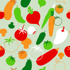 Seamless template with vegetables on the green background