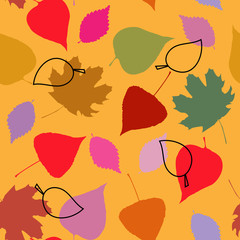 Floral seamless template with autumn leaves
