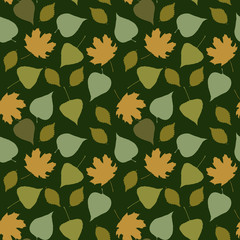 Floral seamless pattern with forest leaves