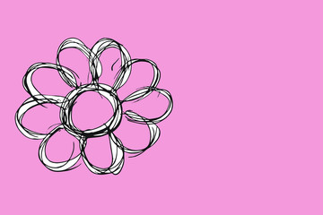 single flower silhouette isolated on pink
