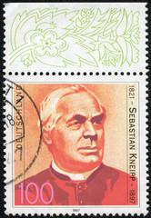 stamp shows Fr. Sebastian Kneipp, Hydrotherapist