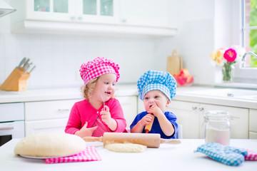 Kids baking pie