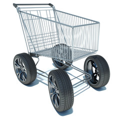 Shopping basket on the road wheels. The concept of large purchas