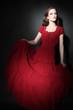 Fashion model in red dress Elegant woman