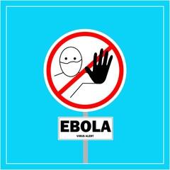 Vector illustration of Ebola virus sign on blue background