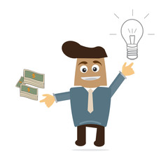 Business cartoon make money from your idea