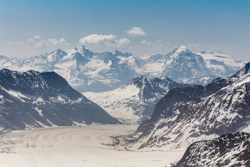 Aletsch Glacier in the Jungfraujoch, Swiss Alps, Switzerland