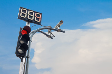 Traffic light with countdown number and cctv