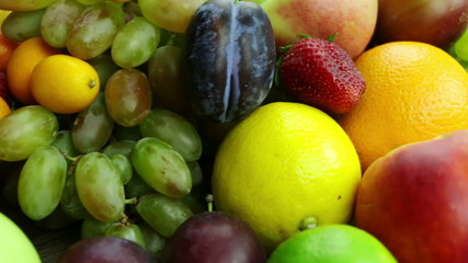 Different Fruits and Berries. Close-Up