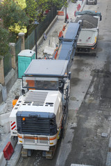 white lorry and conveyor belt