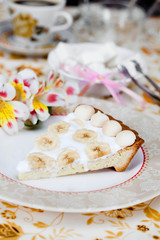 white banana cake on a plate