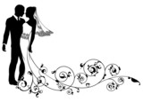 Fototapety Bride and groom floral design