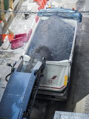 white lorry and conveyor belt