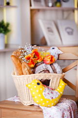 White basket with a variety of bread