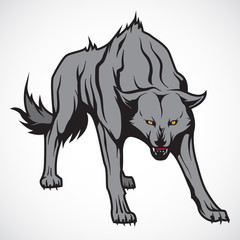 Vector image of the evil wolf.
