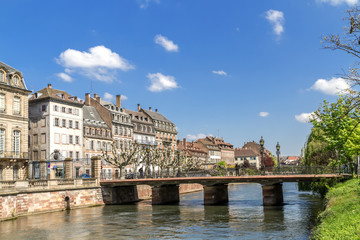 Canal in Strasbourg city center, France, Alsace