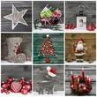 Collage: mehrere Motive Weihnachtsdekoration in Grün und Rot