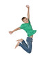 Jumping boy isolated