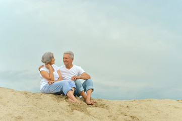 Amusing elderly couple on the beach