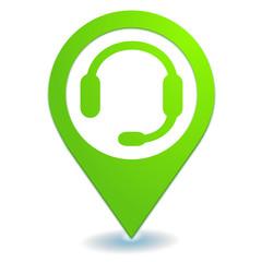 assistance téléphonique sur symbole localisation vert