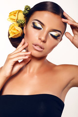 beautiful girl with fantastic makeup and accessory