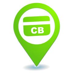 distributeur de billets sur symbole localisation vert