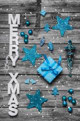 Merry Xmas Weihnachtskarte in blau, türkis, grau, weiß